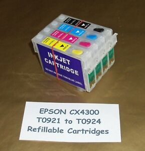 Refillable T0921 to T0924 cartridges for CX4300 [ CISS cartridge available ]