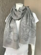 KENZO Grey With Tonal Signature Motifs Modal & Cotton Unisex Scarf Retail