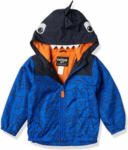 Osh Kosh B'gosh Boys Blue Shark Jersey Lined Jacket Size 2T 3T 4T 4 5/6 7