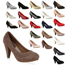 Klassische Damen Pumps Stiletto Absatz Abend Schuhe Leder-Optik 810022 Mode