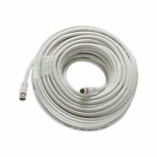 75 FT RG6 White Coax Cable & Connectors 75' coaxial HD 75 ohm TV Outdoor Indoor