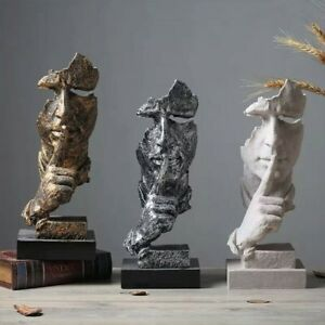 SILENCE PLEASE Nordic Abstract Modern Home Décor Figurine Resin Sculpture Statue