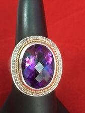 Ladies Amethyst and Diamond Ring in Sterling Silver and 18k Yellow Gold Mounting