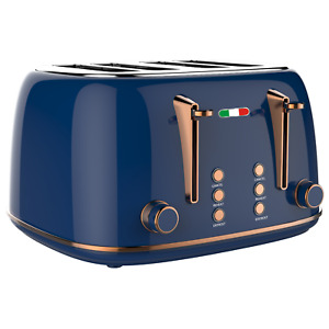 Vintage Electric 4 Slice Toaster Copper Blue Stainless Steel 1650W -Not DeLonghi