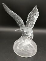 "Cristal D'Arques 24% Lead Crystal Glass Eagle Figurine W/Caught Fish France 8"""