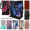 For Moto Z2 Force Wallet Flip PU Leather Case Cover Kickstand Credit Card Strap