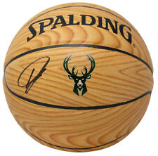 Giannis Greek Freak Antetokounmpo Signed Spalding Woodgrain Bucks Basketball JSA
