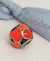 "Authentic Pandora ""Red Hot Hearts"" Charm Silver Bead with Red Enamel (790436ER)"