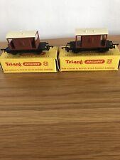 2 x Tri-ang TT Gauge T.72 Brake Van Long Wheelbase - In Original Boxes