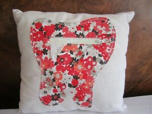 HANDMADE CHILDS RED TOOTH CUSHION FOR TEETH