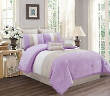LILAC PURPLE WHITE GREY Pin Tuck Stripe Regatta Down Alt Comforter Set King Size