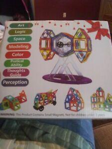 Jasonwell 133Pcs Magnetic Tiles Building Blocks Set for Boys Girls Preschool Edu