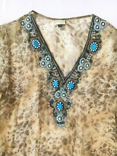 CHINARI LONDON khaki embellished animal print tunic/kaftan  - size L - cover up