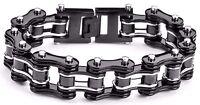 Men's Stainless Steel Double Link Black Silver Bike Chain Bracelet USA Seller!