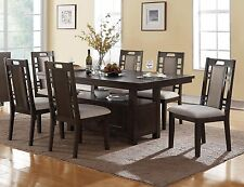 TRANSITIONAL CAMDEN 7PC CHARCOAL GRAY WOOD DINING TABLE SET W/ STORAGE CABINET