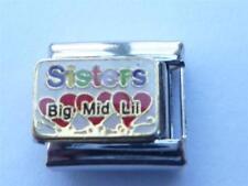 SISTERS BIG MID LIL ITALIAN CLASSIC CHARM  fits all 9mm Italian bracelets U5
