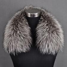 Woman Real Genuine Silver Fox Fur Collar Scarf Neck Wrap Neckwear Accessories