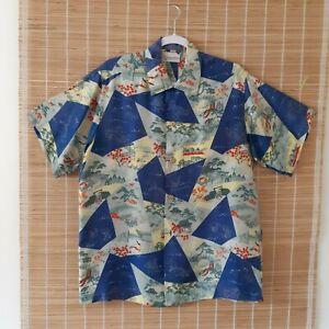 ON SALE Vintage CT Hawaii Fashions Hawaiian Blue Shirt Hibiscus Parrots Palms Men\u2019s Xl