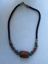BJC Samuel B Benham 925 Sterling Silver Turquoise Carnelian Leather Necklace