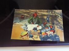 Navajo Indian Silversmith Making Jewelry Hogan Gallup New Mexico Vintage PC b