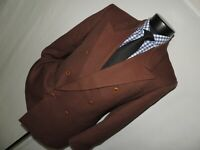 LeBaron men's Vintage 80's Brown Double Breasted jacket coat 40 Short