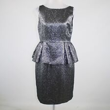 KATE SPADE Andi metallic silver black textured peplum dress 12 NWT $448