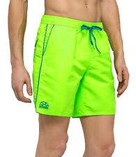Boxer da mare SUNDEK da uomo verde fluo in nylon costume da bagno con
