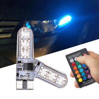 2Pcs T10 W5W 5050 6SMD RGB Car Vehicle LED Light Wedge Lamp Bulb Remote Control