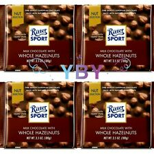 4 Packs Ritter Sport Milk Chocolate with Whole Hazelnuts 3.5 OZ Each Pack