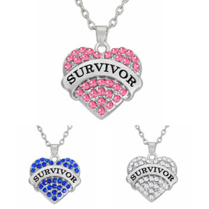 Heart Pink Rhinestones Breast Cancer Survivor Pendant Stainless Steel Necklace