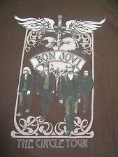 Bon Jovi The Circle Tour 2010 Brown Concert Shirt With Dates Adult Size 2XL