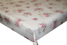 Vintage Roses Beige PVC Tablecloth Vinyl Oilcloth Kitchen Dining Table Cover
