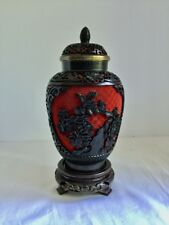 Chinese Cinnabar Jar Lid 2 Color Black Red Strong Body Guarantee Authentic 03722