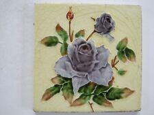 ANTIQUE RELIEF MOULDED ART NOUVEAU TILE - H. RICHARDS - PURPLE ROSE c1920-30