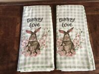 Bunny Love Rabbit Kitchen Towels Set Easter Spring Garden New