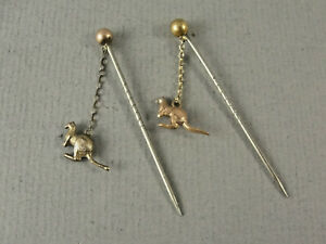2 x Vintage 9ct Gold Solid 9ct Gold KANGAROO STICK PINS. Hallmarked 9ct c1920