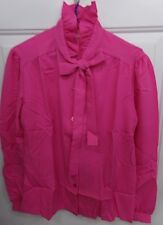 True Vtg Womens Size 12 Pink Ruffled Neck Shirt Blouse Montgomery Ward Nwt