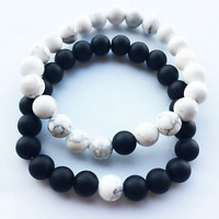 2Pcs/Set Handmade Natural White Turquoise Frosted Black Beads Stretch Bracelet