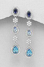 "1.8"" Sterling Silver Dangle Earrings Natural Gemstones Iolite Topaz Tanzanite 6g"