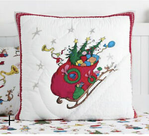 Pottery Barn Dr. Seuss THE GRINCH QUILT EURO SHAM SOLD OUT/NO LONGER AVAILABLE!!