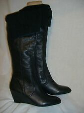 NICOLE Black Leather Over Knee Foldover Wedge Boots - 6 M - EUC