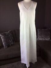 Vintage Laura Ashley White Linen Long Halter neck Dress Uk 14 Petite D1