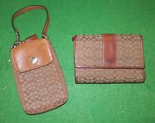 WOMEN'S AUTHENTIC COACH BROWN CANVAS LOGO WALLET & CELL PHONE CARRIER 2 PIECES