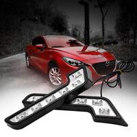 2X 6 LED DRL Daytime Running Lights Car Fog Day Driving White Lamp Universal 12V
