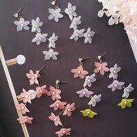 Sweet Earring Dangle Women Colors Drop Long Simulated Pearl Earrings Flower