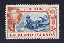 Falkland Islands. 1938. SG161b. 5s indigo/yellow-brown. Mtd mint. Cat £1100.
