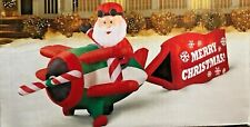 RARE GIANT NEW 16 FT LONG CHRISTMAS SANTA CLAUS AIRPLANE INFLATABLE BY GEMMY