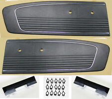 NEW! 1966 Mustang Black Door Panels, Kit, Pads, Bases, Clips Left & Right Side