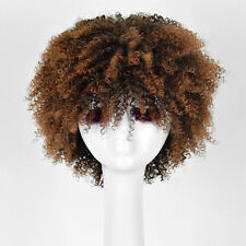 Brown ombre Wig Black Women's Fluffy Afro Kinky Curly Curls Short Wigs