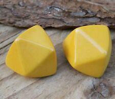 Vintage Bakelite Earrings Yellow Clip-Ons Clips Costume Jewellery Retro Studs